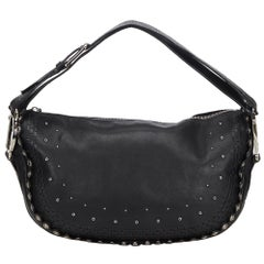 Vintage Authentic Dior Black Peace and Love Shoulder Bag Italy w Dust Bag LARGE