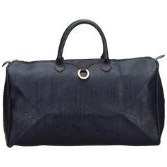 Vintage Authentic Dior Black PVC Plastic Dior Oblique Duffle Bag France LARGE