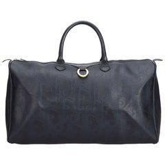 Vintage Authentic Dior Black PVC Plastic Oblique Duffle Bag France LARGE