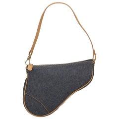 Vintage Authentic Dior Blue Light Denim Fabric Mini Saddle Baguette France MINI