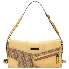 Vintage Authentic Dior Brown Canvas Fabric Oblique Shoulder Bag Italy MEDIUM
