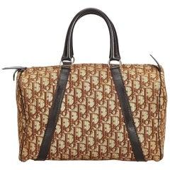 Vintage Authentic Dior Brown Dior Oblique Boston Bag France MEDIUM