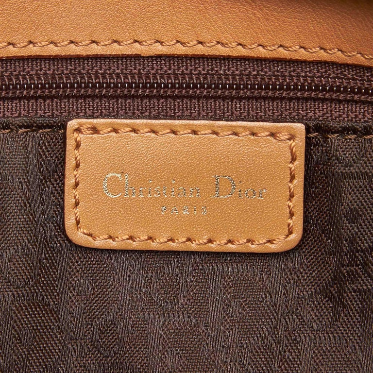 Vintage Authentic Dior Brown Leather Shoulder Bag France w/ Dust Bag LARGE  For Sale 2