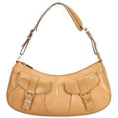 Vintage Authentic Dior Brown Leather Shoulder Bag France w/ Dust Bag LARGE