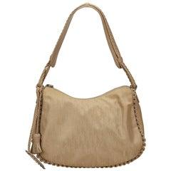 Vintage Authentic Dior Brown Oblique Shoulder Bag Italy w Dust Bag MEDIUM