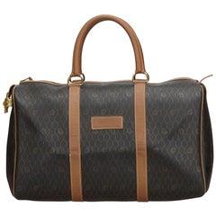 Vintage Authentic Dior Dark PVC Plastic Honeycomb Duffle Bag France LARGE
