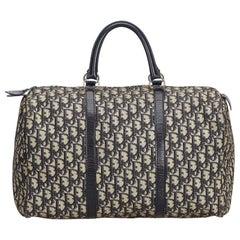 Vintage Authentic Dior Gray Canvas Fabric Dior Oblique Boston Bag France LARGE