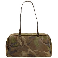 Vintage Authentic Dior Green Camouflage Shoulder Bag France MEDIUM