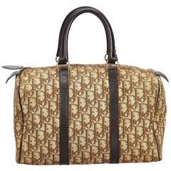 Vintage Authentic Dior Khaki Jacquard Fabric Oblique Boston Bag France MEDIUM