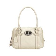 Vintage Authentic Dior Leather Handbag w Authenticity Card Padlock Key MEDIUM