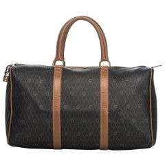 Vintage Authentic Dior Leather Honeycomb Duffle Bag France w Padlock LARGE