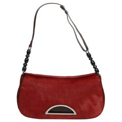 Vintage Authentic Dior Red Dark Malice Baguette France w Dust Bag SMALL