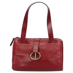 Vintage Authentic Dior Red Leather Handbag France w/ Dust Bag SMALL