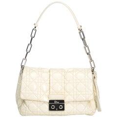 Vintage Authentic Dior White Cannage New Lock Flap Bag France MEDIUM