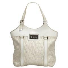 Vintage Authentic Dior White Canvas Fabric Dior Oblique Tote Bag France LARGE
