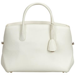 Vintage Authentic Dior White Leather Open Bar Handbag France LARGE
