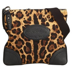 Vintage Authentic Dolce Gabbana Leopard Printed Crossbody Bag Italy MEDIUM