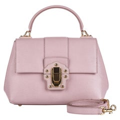 Vintage Authentic Dolce Gabbana Pink Calf Leather Lucia Satchel Italy w MEDIUM