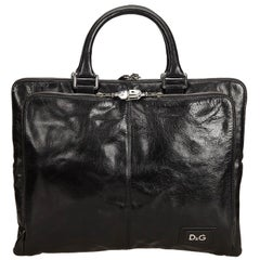 Vintage Authentic Dolce&Gabbana Black Leather Business Bag Italy LARGE