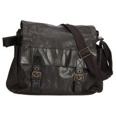 Vintage Authentic Dolce&Gabbana Black Leather Crossbody Bag Italy MEDIUM