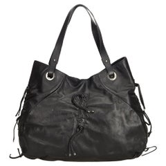 Vintage Authentic Dolce&Gabbana Black Leather Tote Bag Italy LARGE