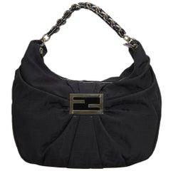Vintage Authentic Fendi Black Canvas Fabric Zucca Mia Hobo Bag Italy LARGE
