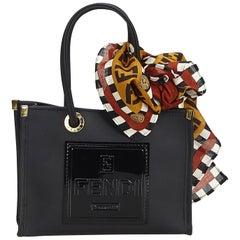 Vintage Authentic Fendi Black Chemical Fiber Fabric Handbag Italy w/ Box SMALL