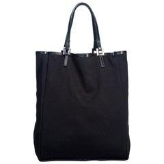 Vintage Authentic Fendi Black Cotton Fabric Tote Italy w/ Dust Bag LARGE