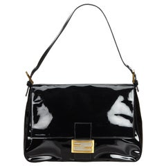 Vintage Authentic Fendi Black Mamma Forever Italy w Dust Bag SMALL