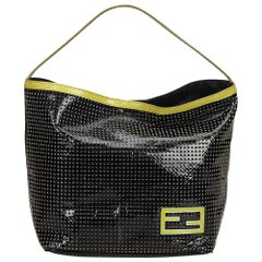 Vintage Authentic Fendi Black Patent Leather Perforated Tote Bag Italy LARGE