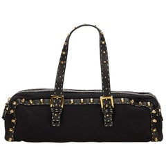 Vintage Authentic Fendi Black Studded Selleria Shoulder Bag Italy LARGE