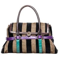 Vintage Authentic Fendi Brown Canvas Fabric Pequin Handbag Italy LARGE