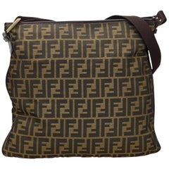 Vintage Authentic Fendi Brown Canvas Fabric Zucca Crossbody Bag Italy LARGE