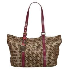 Vintage Authentic Fendi Brown Canvas Fabric Zucchino Shoulder Bag Italy MEDIUM