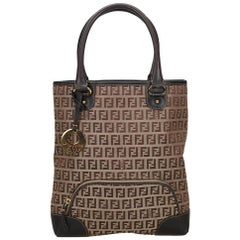 Vintage Authentic Fendi Brown Canvas Fabric Zucchino Tote Bag Italy LARGE