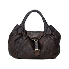 Vintage Authentic Fendi Brown Dark Brown Leather Spy Handbag Italy LARGE
