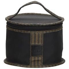 Vintage Authentic Fendi Brown Nylon Fabric Pequin Vanity Bag Italy SMALL