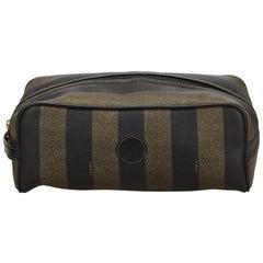 Vintage Authentic Fendi Brown PVC Plastic Pequin Clutch Bag Italy SMALL