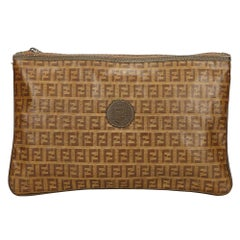 Vintage Authentic Fendi Brown Zucchino Clutch Bag Italy SMALL