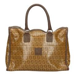 Vintage Authentic Fendi Brown Zucchino Handbag Italy MEDIUM