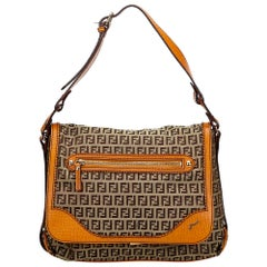 Vintage Authentic Fendi Brown Zucchino Shoulder Bag Italy w Dust Bag LARGE