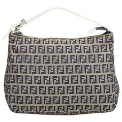 Vintage Authentic Fendi Gray Canvas Fabric Zucchino Handbag Italy SMALL