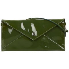 Vintage Authentic Fendi Green Patent Leather Shoulder Bag Italy SMALL