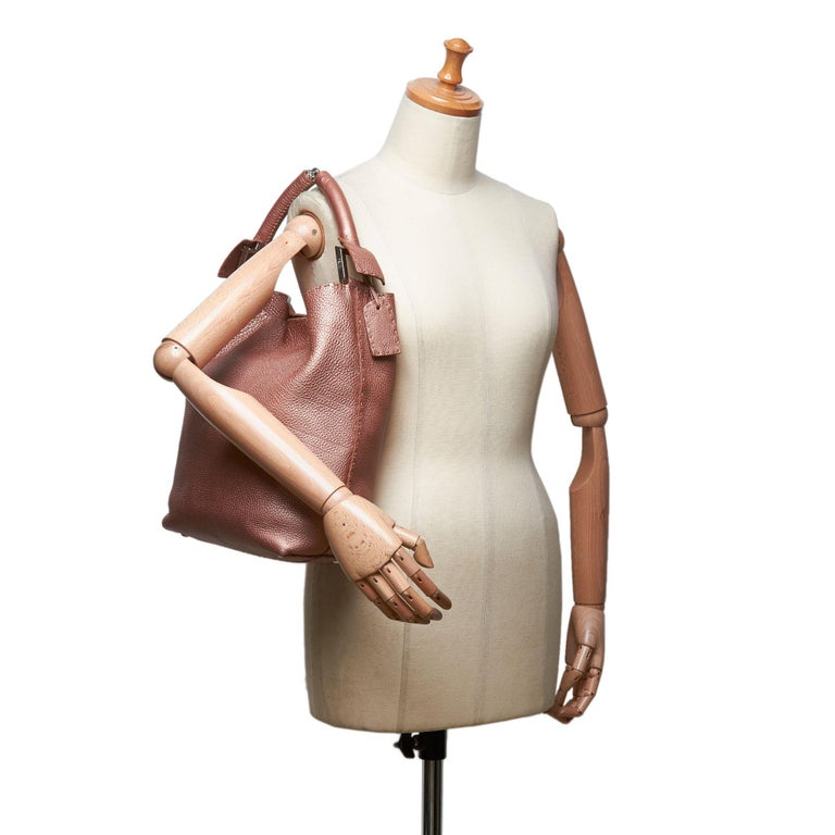 Vintage Authentic Fendi Pink Leather Selleria Tote Bag Italy w/ Dust Bag LARGE  For Sale 6