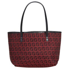Vintage Authentic Fendi Red Jacquard Fabric Zucchino Tote Bag Italy LARGE