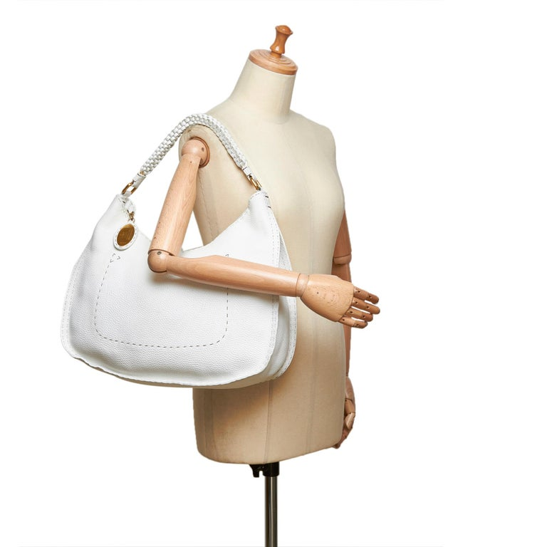 Vintage Authentic Fendi White Ivory Leather Selleria Hobo Bag Italy LARGE  For Sale 8