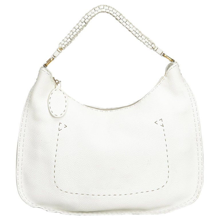 Vintage Authentic Fendi White Ivory Leather Selleria Hobo Bag Italy LARGE  For Sale