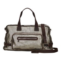 Vintage Authentic Ferragamo Silver Metallic Duffel Bag Italy LARGE