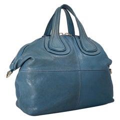 Vintage Authentic Givenchy Blue Leather Nightingale Satchel Italy LARGE