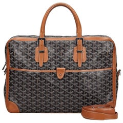 Vintage Authentic Goyard Black Goyardine Ambassade MM Briefcase France MEDIUM